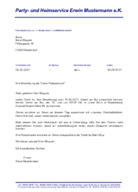 Musterbrief Einladung Eigentümerversammlung Einladung Zum Vorstellungsgespr 228 Ch Eines Bewerbers