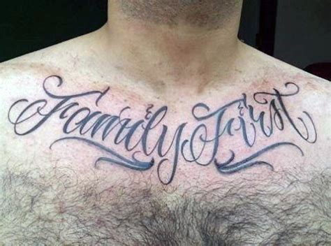 family first chest tattoo 90 script tattoos for cursive ink design ideas
