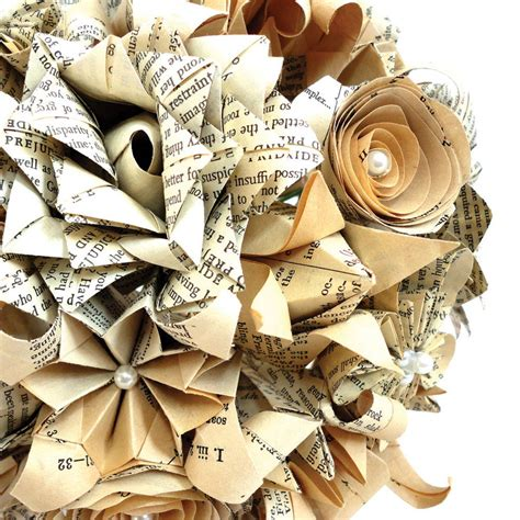 Wedding Bouquet Made From Books by Eco Recycled Books Mixed Flowers Origami Bouquet By The