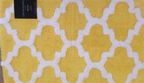 yellow quatrefoil rug cynthia rowley quatrefoil bath rug yellow and white