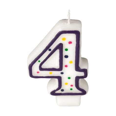 Dots Number Candle colorful birthday candle number 4 polka dot number