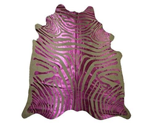 Zebra Rindsleder Teppich Rosa Metallischen Streifen Pink