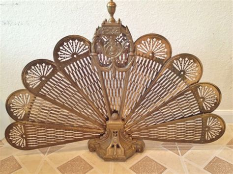 Vintage Regency Style Brass Fireplace Screen Fan Brass Fan Fireplace Screen