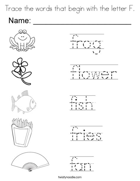 color that begins with e trace the words that begin with the letter f coloring page