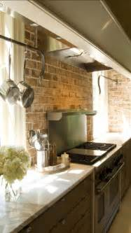 kitchen with brick backsplash brick backsplashes rustic and full of charm