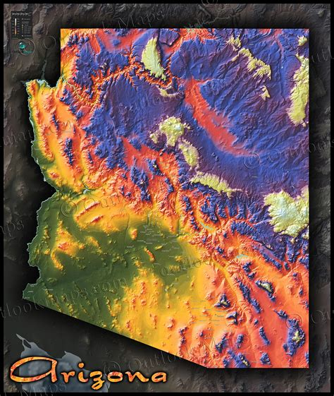arizona topographical map arizona map topographical