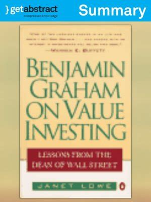 Ebook How To Think Like Benjamin Graham And benjamin graham on value investing summary by janet c lowe 183 overdrive rakuten overdrive
