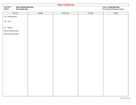 free templates for teachers 6 best images of planner free printable templates