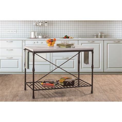 hillsdale accents metal kitchen island with white marble hillsdale accents metal kitchen island with white marble