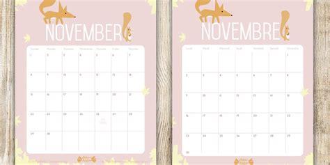Calendrier De Novembre Calendrier De Novembre Printable Papier Bonbon