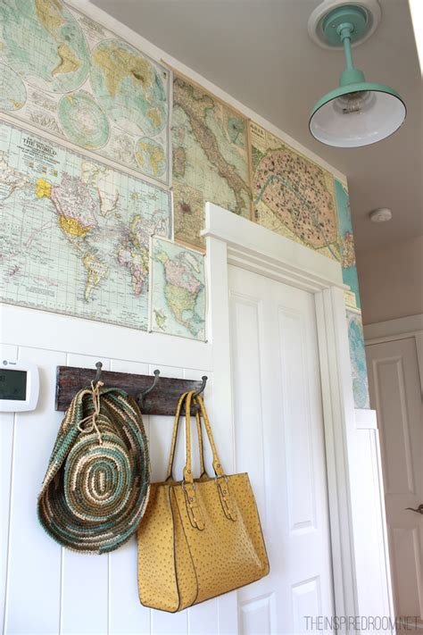 wall map for room my diy map wallpaper small hallway the inspired room