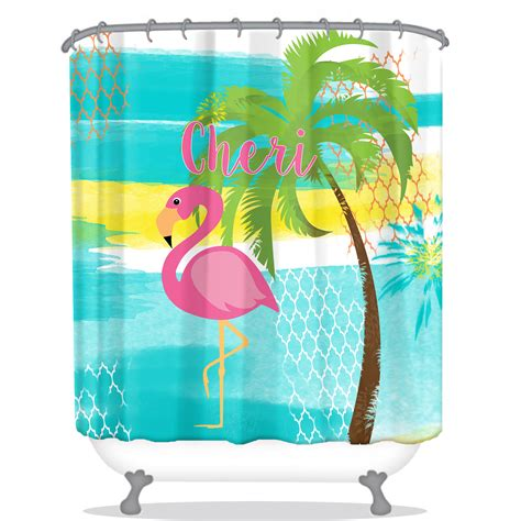 personalized shower curtain pink flamingo personalized shower curtain personalized