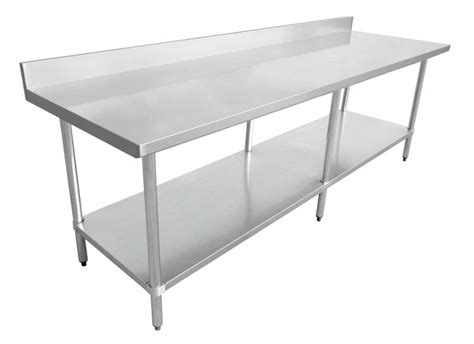 24 x 84 table 24 quot x 84 quot stainless steel work table with 4 quot backsplash
