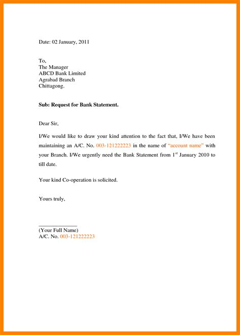 Bank Statement Request Letter Doc 4 Letter To Bank For Statement Target Cashier