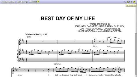 printable lyrics best day of my life quot best day of my life quot by american authors piano sheet