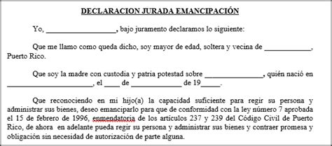 declaracion jurada puerto rico emancipaci 243 n tusdocumentospr com modelos de documentos