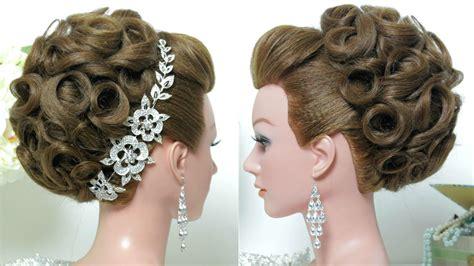 bridal hairstyle wedding updo  long hair tutorial youtube