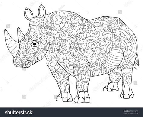 anti stress coloring book animals hippopotamus animal coloring book adults vector stock
