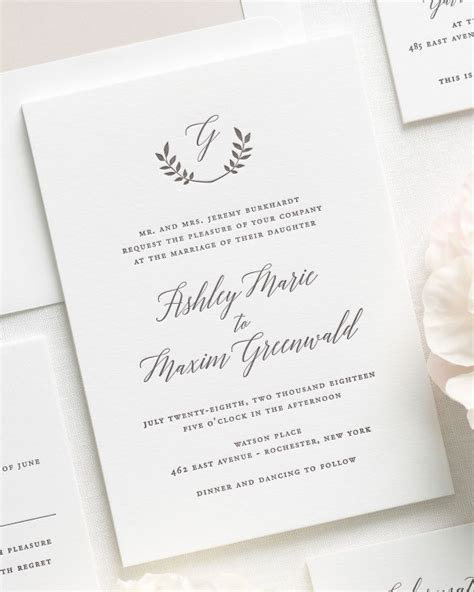Wedding Invitations Letterpress by Greenery Inspired Letterpress Wedding Invitations