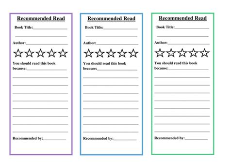 bookmark book report recommended reading bookmark for reading display by