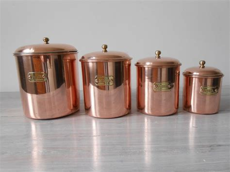 yellow kitchen canisters tea coffee sugar jars flour 4 red copper canisters with yellow brass fittings flour