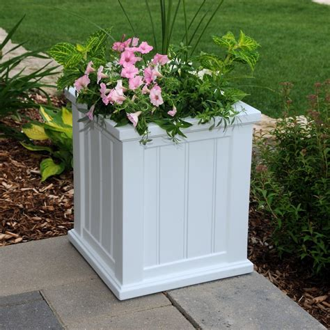 mayne cape cod 16 in square white plastic planter 4837 w