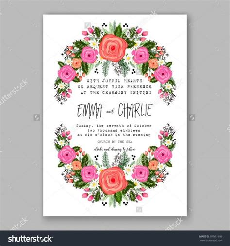 card wreath template wedding invitation printable template with floral wreath