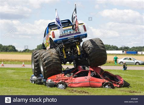 bigfoot monster truck driver bigfoot monster truck in action driving over cars stock