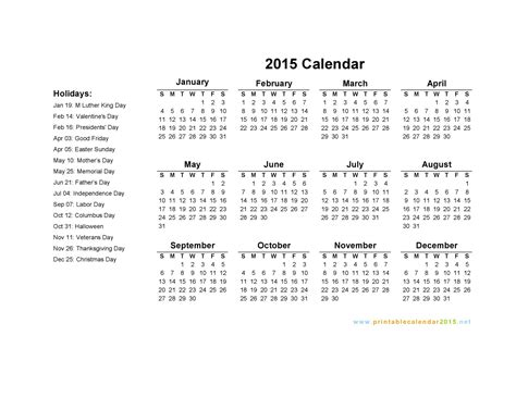 printable calendar holidays 2015 calendar with holidays 2015 pictures images