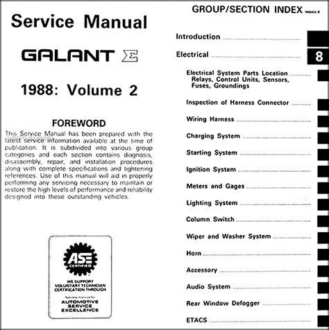 car repair manuals download 1988 mitsubishi galant electronic valve timing 1998 mitsubishi galant repair shop manual 2 volume set original