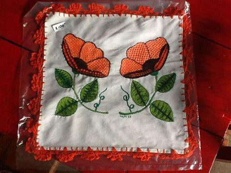 bordados de frutas en servilletas orange flowers tortilla cloth done in weaved embroidery