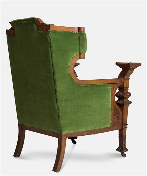 Oak Armchair by Green Velvet And Oak Armchair Circa 1860 For Sale At 1stdibs
