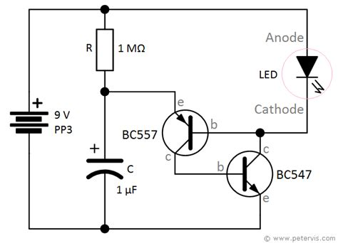 led blinker circuit diagram led flasher using bc547 and bc557 transistors