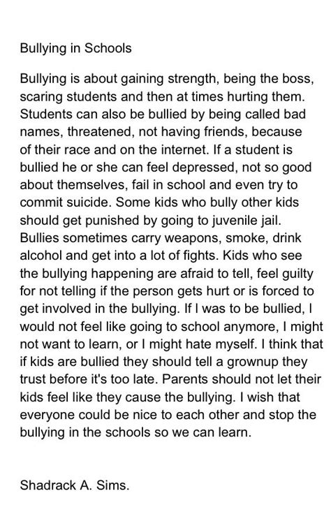 Essays On Bullying by Exle About Bullying Essays