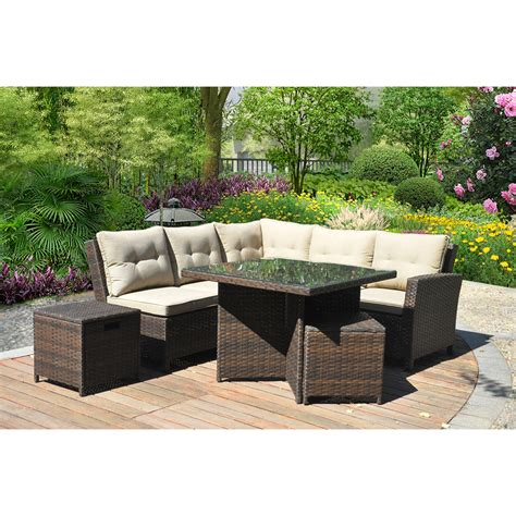 outdoor sectional seating ragan meadow 7 piece outdoor sectional sofa set seats 5