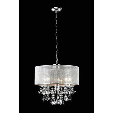 Silver Drum Shade Ceiling Crystal Chandelier Pendant Crystals For Light Fixtures
