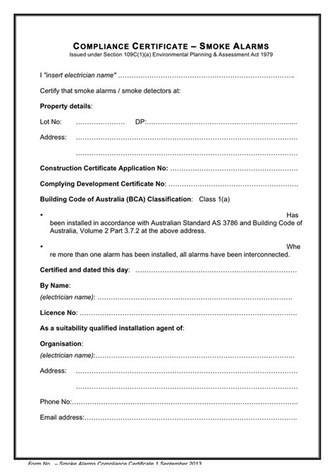 certificate of installation template smoke alarms compliance certificate template in word and