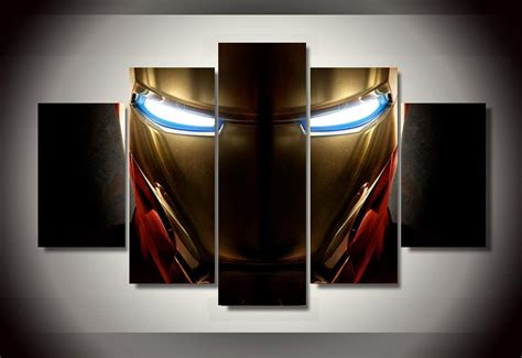 marvel home decorating hd printed iron man helmet movie painting wall art canvas