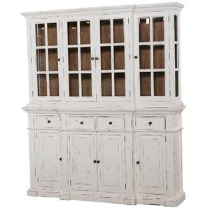 farmhouse large white distressed buffet hutch display
