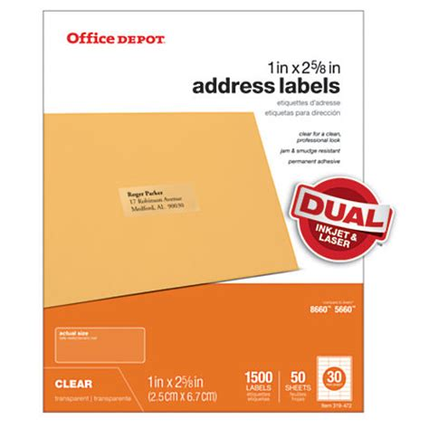 printable stickers office depot office depot brand address labels 1 x 2 58 clear pack of