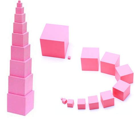 Pink Tower 1 montessori materials pink tower learn dimesions and sizes