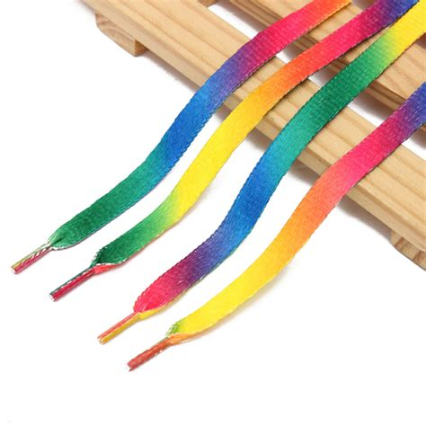 colored shoe laces 2 x rainbow colored shoe lace boot laces sneakers