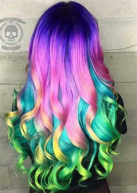 new dyed hairstyles purple pink rainbow dyed hair color inspiration