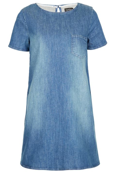 denim swing dress topshop pocket denim swing dress in blue lyst