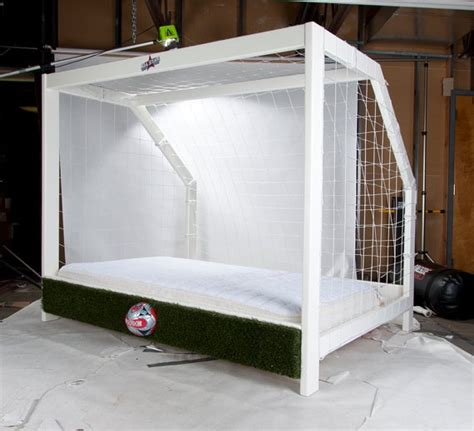soccer goal twin bed sports themed furniture  cool