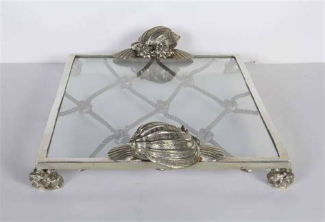 Handcrafted Pewter - exquisite handcrafted pewter and glass nautical tray for