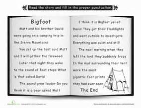 bigfoot punctuate the story worksheet education com