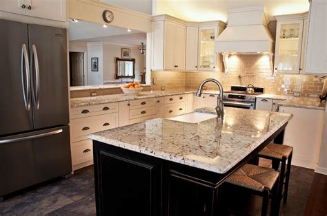 Almond Kitchen Cabinets White Galaxy Granite For Stylish And Affordable Kitchen