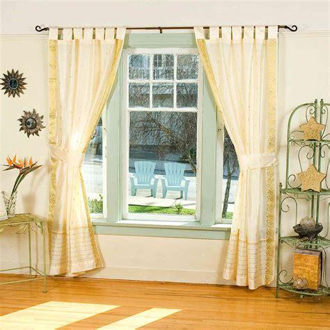 sheer cream curtains indo cream tab top sari sheer curtain 43 in x 84 in