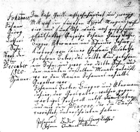 Hesse Darmstadt Birth Records The Birth And Baptismal Record Of Johannes Lather 1820